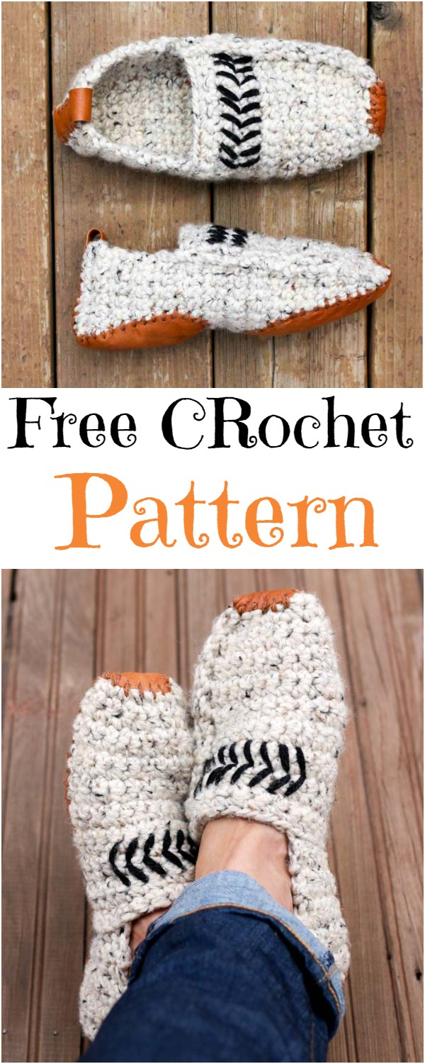 Modern Women Or Men's Crochet Slippers Free Pattern