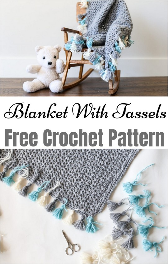 Simple Crochet Blanket With Tassels