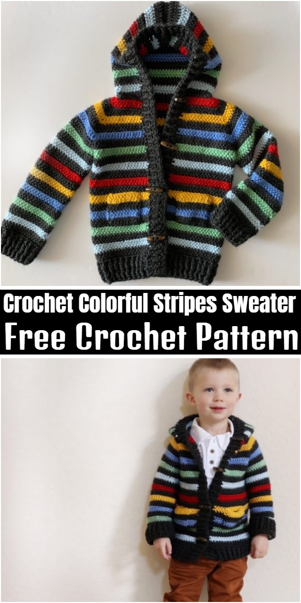 Crochet Colorful Stripes Sweater