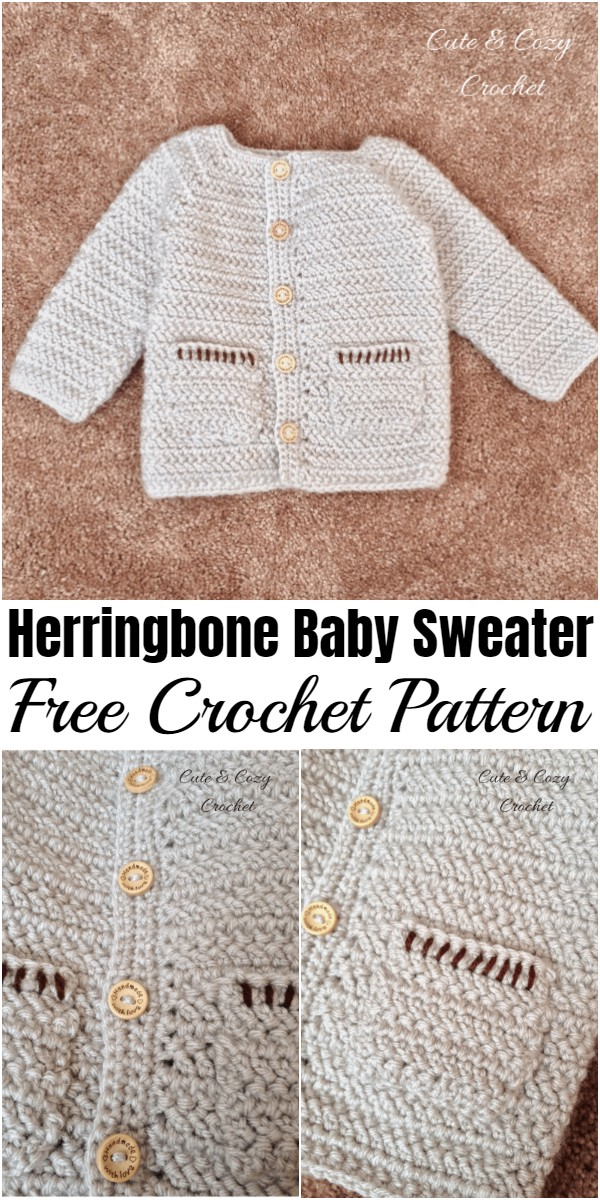 Crochet Herringbone Baby Sweater Pattern