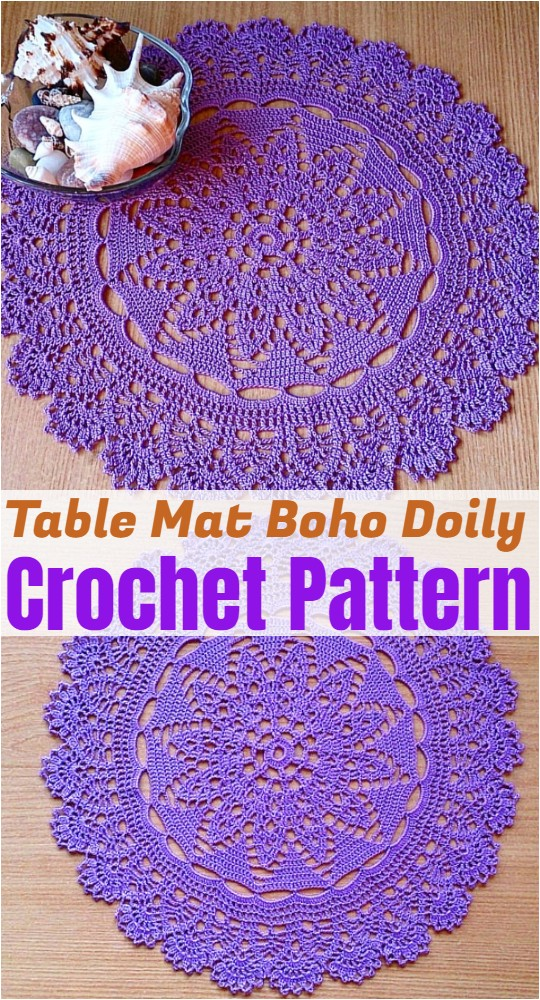 Crochet Table Mat Boho Doily