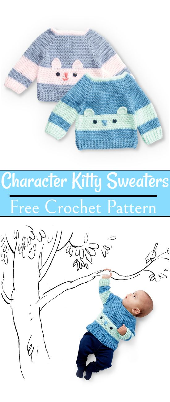 Free Crochet Character Kitty Sweaters Pattern