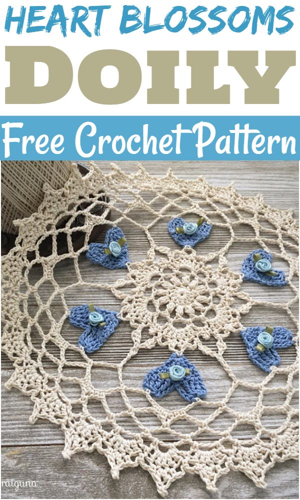 Free Crochet Heart Blossoms Doily Pattern