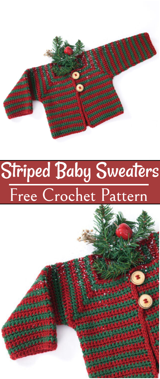 Free Crochet Striped Baby Sweaters Pattern