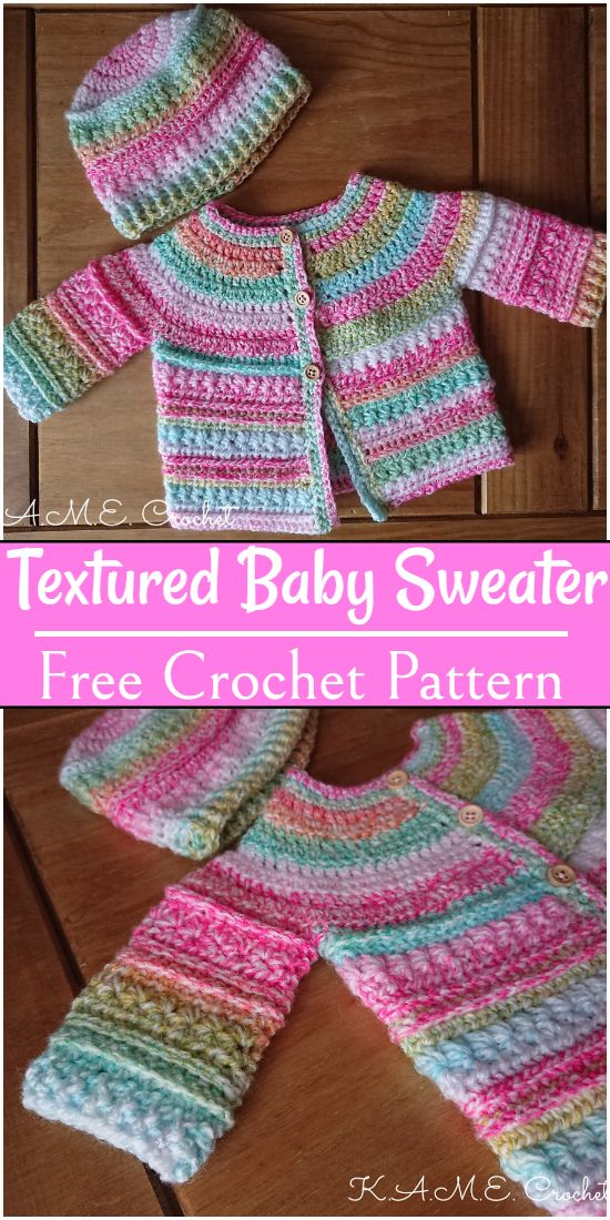 Free Crochet Textured Baby Sweater Pattern