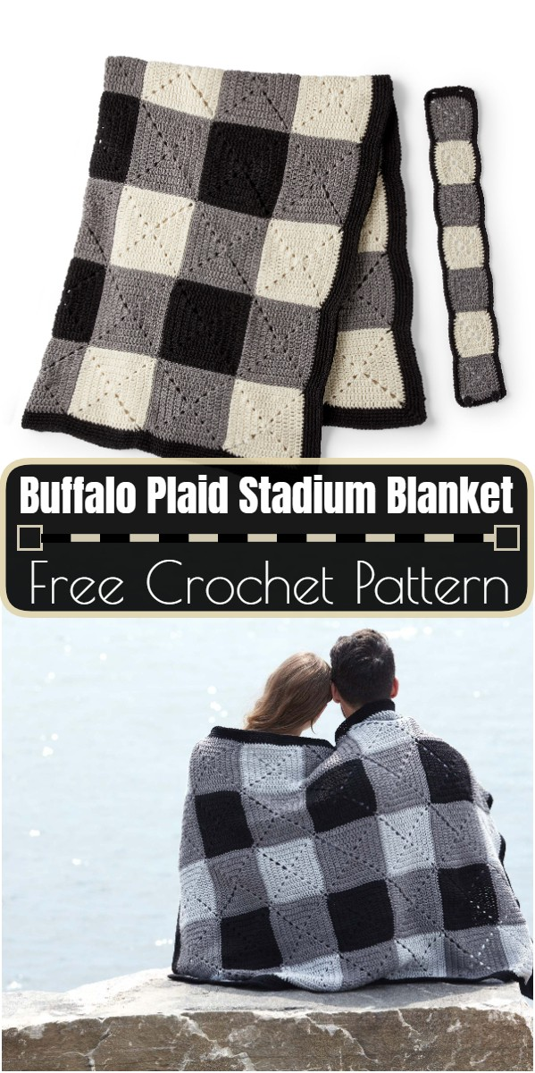 Buffalo Plaid Crochet Stadium Blanket