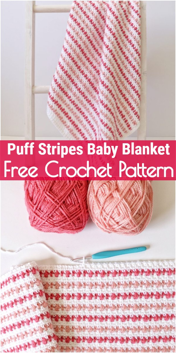 Crochet Puff Stripes Baby Blanket