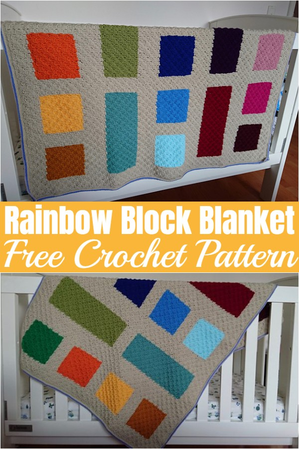 Rainbow Block Blanket Free Crochet Pattern