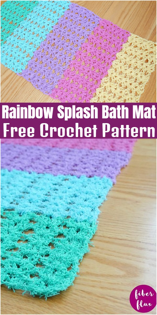 Rainbow Splash Bath Mat Free Crochet Pattern