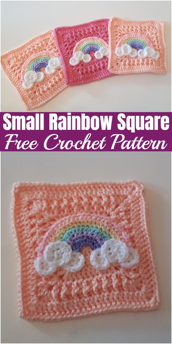 Small Rainbow Square Free Crochet Pattern