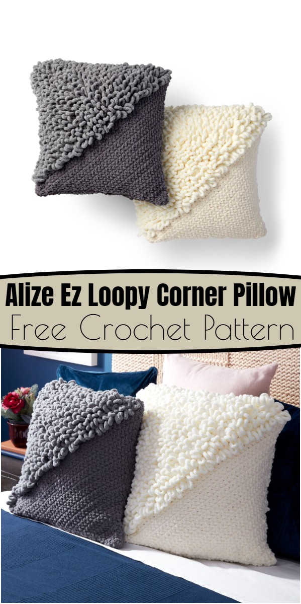 Alize Ez Loopy Corner Crochet Pillow