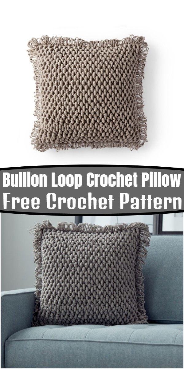 Bullion Loop Crochet Pillow