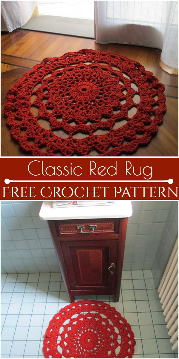 Classic Red Rug Free Crochet Pattern