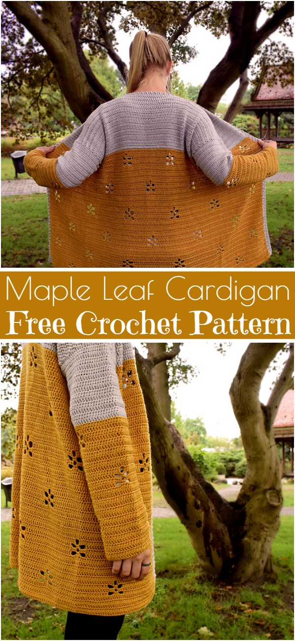 Maple Leaf Cardigan Free Crochet Pattern
