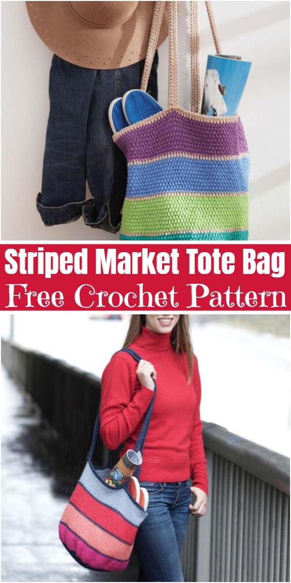 Striped Market Tote Bag