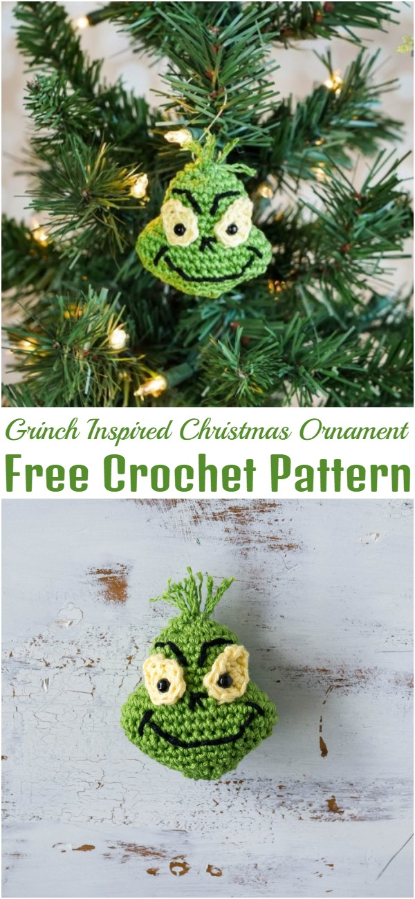 Crochet Grinch Inspired Christmas Ornament
