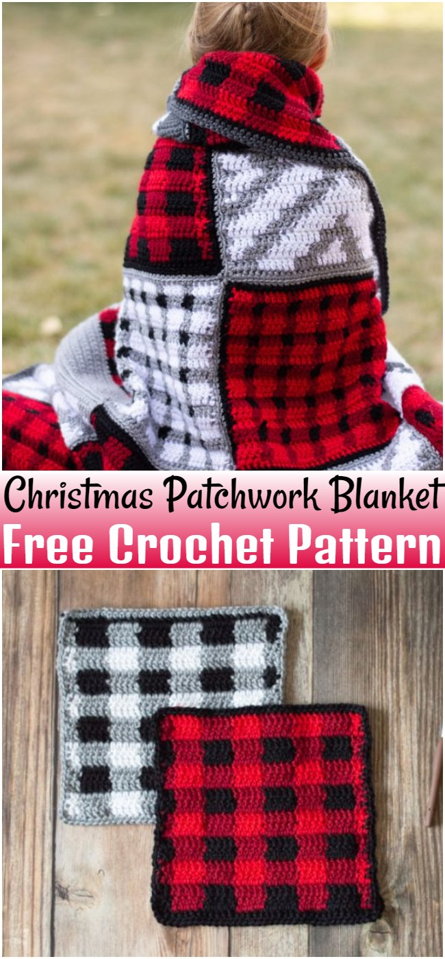 Free Crochet Christmas Patchwork Blanket Pattern