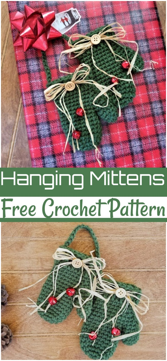Free Crochet Hanging Mittens Pattern