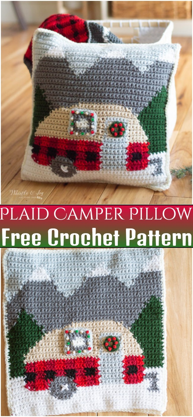 Free Crochet Plaid Camper Pillow Pattern
