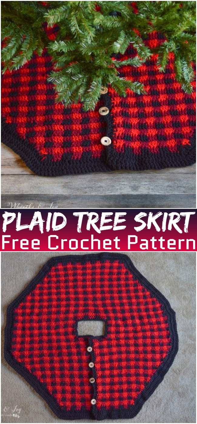 Free Crochet Plaid Tree Skirt Pattern