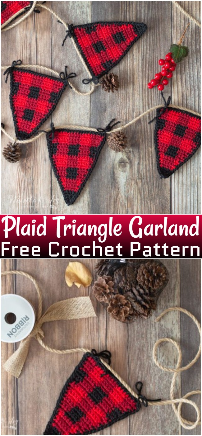 Free Crochet Plaid Triangle Garland Pattern