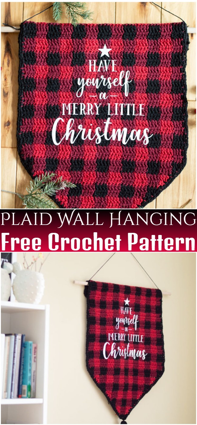 Free Crochet Plaid Wall Hanging Pattern