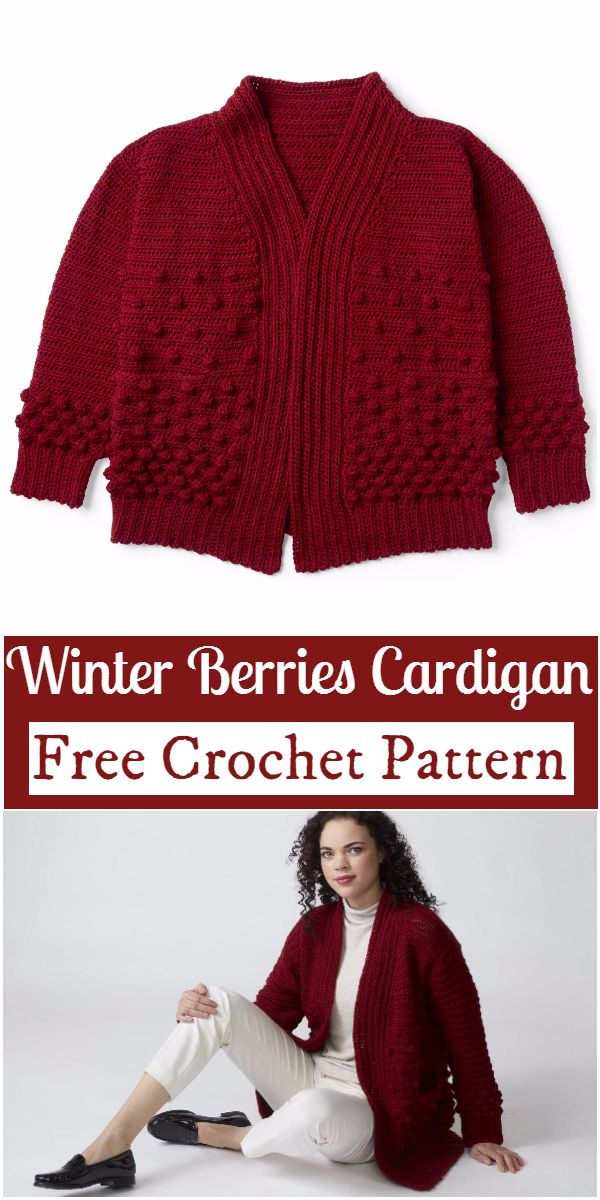 Free Crochet Winter Berries Cardigan Pattern