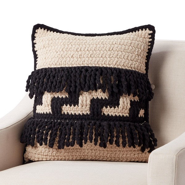 Graphic Step Crochet Pillow