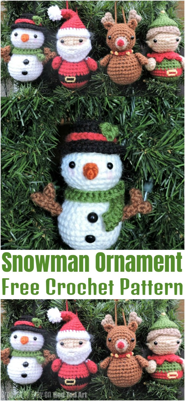 Snowman Crochet Ornament Pattern