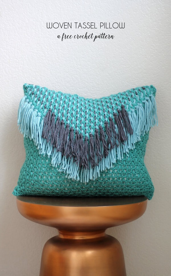 Woven Tassel Pillow Free Crochet Pattern