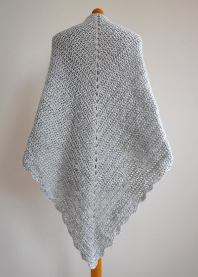 Beginner Triangle Shawl Free Crochet Pattern