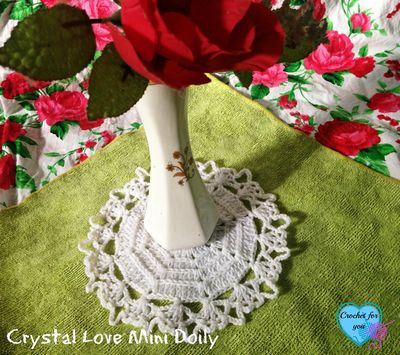 Free Crochet Crystal Love Mini Doily Pattern