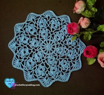 Free Crochet Flower Wheel Doily Pattern