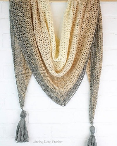 Triangle Shawl Free Crochet Pattern